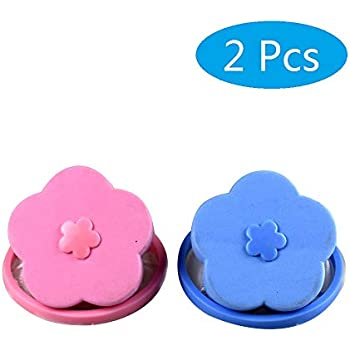 LaZimnInc Washing Machine Floating Lint 2 Pcs, Reusable Flower-Type Washing Machine Filter Mesh Bag Hair Filter Net Pouch (Blue + Pink)
