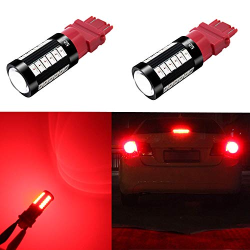 Alla Lighting 2800lm 3156 3157 LED Lights Bulbs Xtreme Super Bright T25 3056 4057 4157 3457K 3057 LED Bulb 5730 33-SMD Dual Car Truck Turn Signal Blinker,Brake Stop Lights, Taillights, Pure Red