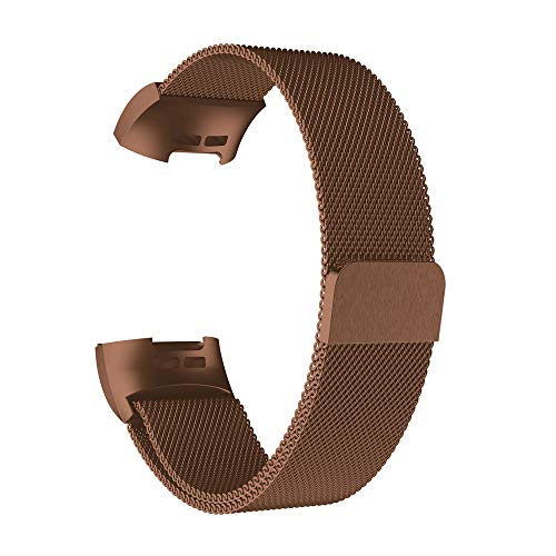 AckfulMilanese Stainless Steel Watch Band Strap Bracelet for Fitbit Charge 3 (Coffee)