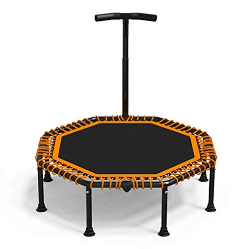 47inch; Mini Fitness Trampoline with Adjustable T-bar Stability Handle, Foldable Exercise Trampoline for Adults or Kids, Bungee Rebounder Trampoline for Gym/Home, Max. Load 300kg with Suction - T-bar Stakes
