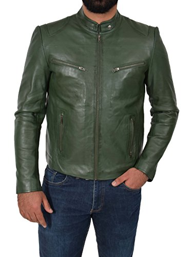 Biker Leather Goods - A1 FASHION GOODS Genuine Leather Biker Jacket for Mens Green Fitted Zipped Casual Coat - Foster (Large)