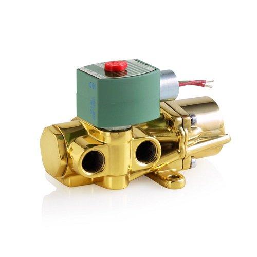 ASCO 8344G074-120/60,110/50 Brass Body Pilot Operated Piston/Poppet Solenoid Valve, 1/2'' Pipe Size, 4-Way Inline Single Solenoid, Nitrile Butylene Sealing, 3/8'' Orifice, 1.4 Cv Flow, 120/60V, 110/50V by Asco