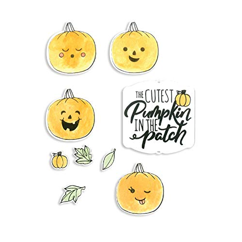 Sizzix 662898 Framelits Die Set with Stamps Cutest Pumpkin, 11-Pack, Multicolor ()