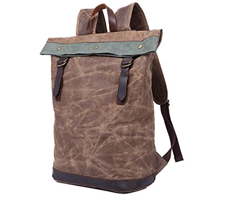 Men's Oil Travel Shoulder Horse Hand Bag Backpack With Waterproof Brown Wax Crazy Retro Canvas ppawxTnqr6