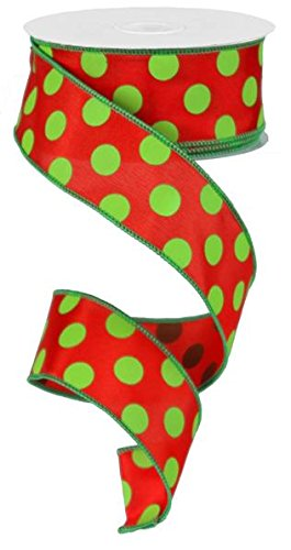 Ex=pressions Polka Dot Christmas Ribbon: Red and Lime Green 1.5