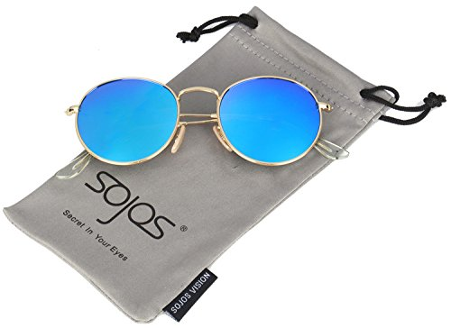 SojoS+Round+Vintage+Mirror+Lenses+UV+Protection+Polarized+Unisex+Sunglasses+SJ1014+With+Gold+Frame%2FBlue+Lens