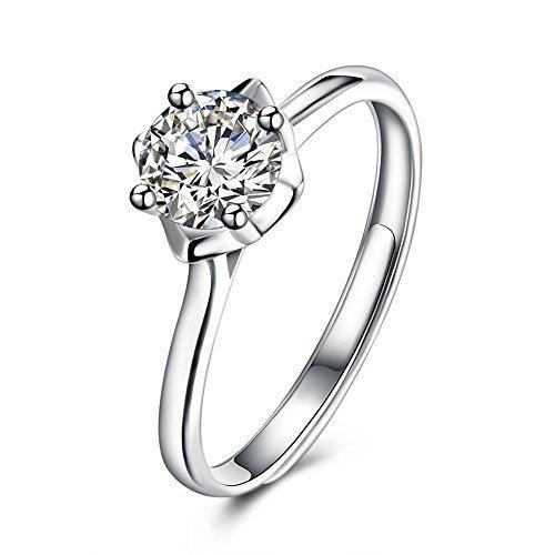 437e2bf23603 Plata de Ley 925 Circonita corte brillante redondo 3 mm solitario anillos  ajustable anillo Caliente de