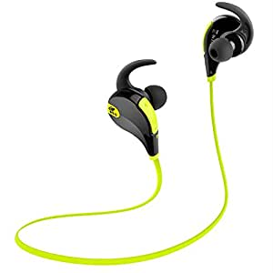 SoundPEATS Bluetooth Headphones Stereo Wireless Earphones for Running with Mic (6 Hours Play Time, Bluetooth 4.1, IPX4 Sweatproof, Secure Ear Hooks Design) - Black & Green