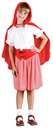 Bristol Novelty CC458 Riding Hood Costume, Red/White, Medium, Approx Age 5 - 7 Years, Red Riding Hood (M)]()