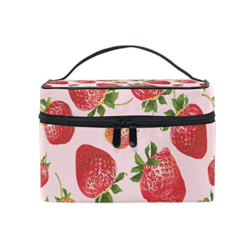 (Fresh And Bright Strawberry Travel Toiletry Bag Cosmetic Organizer for Large Portable Bathroom Accessories Kit)