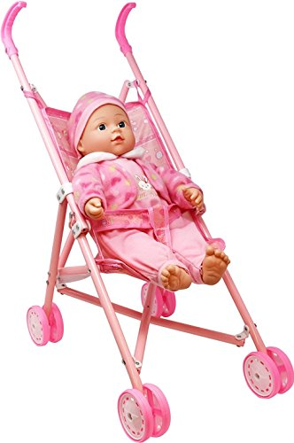 My First Baby Doll Stroller - Soft Body Talking Baby Doll Included Fun Play Combo Set for Babies Infants Toddlers Girls Kids (Talking Plastic Doll)