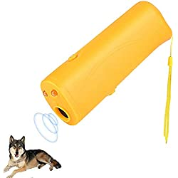 OYEFLY Handheld Dog Repellent Trainer, 3 in 1 Anti Barking Device with LED Flashlight, Ultrasonic Dog Deterrent and Bark Stopper Dog Trainer Devices - Training Tool/Stop Barking (Yellow)