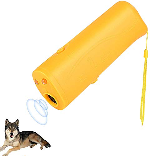 OYEFLY Handheld Dog Repellent Trainer, 3 in 1 Anti Barking Device with LED Flashlight, Ultrasonic Dog Deterrent and Bark Stopper Dog Trainer Devices - Training Tool/Stop Barking (Yellow) ()