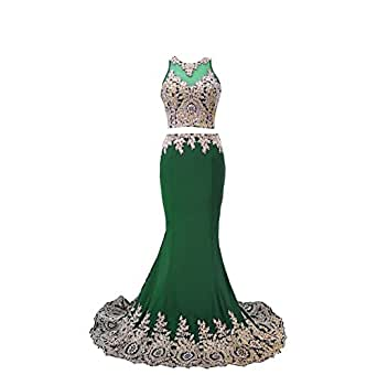 Women's Gold Lace 2 Pieces Mermaid Prom Gown Sheer Evening Dress Emerald Green US14
