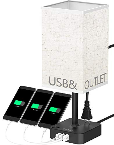 (COZOO USB Bedside Table & Desk Lamp with 3 USB Charging Ports and 2 Outlets Power Strip,Square Black Charger Base with Linen Flaxen Fabric Shade, LED Light for Bedroom/Nightstand/Living Room)