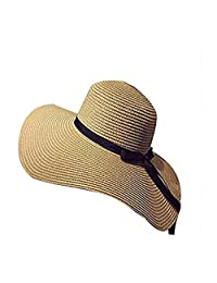 SUNNHATS Women's Sun Hat Straw Wide Brim Beach Floppy Derby Bow Ladies Ribbon Cap