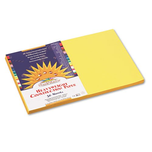 SunWorks - Construction Paper, 58 lbs., 12 x 18, Yellow, 50 Sheets/Pack 8407 (DMi PK