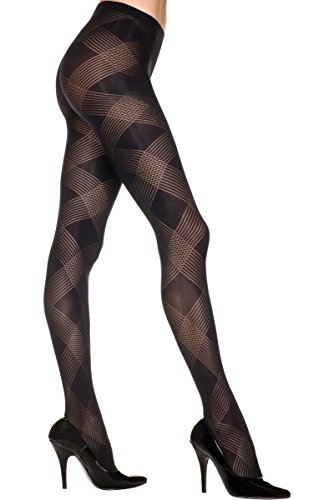 Argyle Pantyhose - Music Legs 7235-BLACK Argyle Design Opaque Pantyhose44; Black