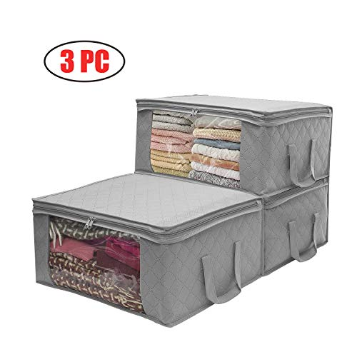 Sunfayzz Storage Organizer, Clothes Organizers Storage Bags, Storage Bags with Large Clear Window & Carry Handles, Great for Clothes, Blankets, Closets, Bedrooms Home Organizes, Set of 3 (Gray)
