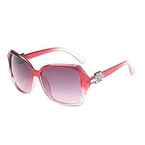 Sinkfish SG50011 Sunglasses for Womens,Anti-UV & Fashion Oval/Red Frames/C1 Lens