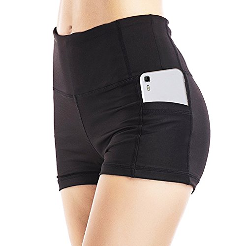 SMTMALL Update Womens Dance Shorts With Pocket, Tummy Control Yoga Short Leggings Exercise Workout Shorts Running Shorts
