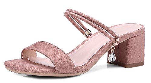 Aisun Women's Comfy Open Toe Mid Chunky Heels Sandals Pink