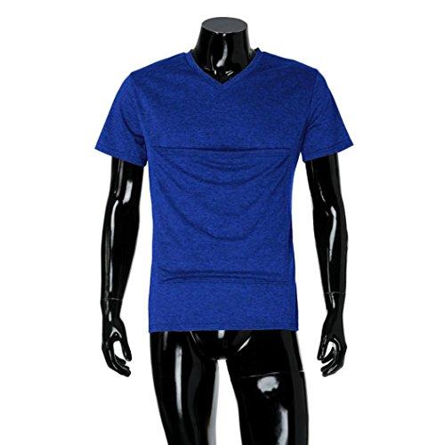 Sweatshirt À Papa bébés Casual Kangourou Chemise Couleur Manches Multifonction T Bleu Pure Paternité De Blouse shirt Hommes Mode Écharpe Qinmm Courtes Porte gBqwBz