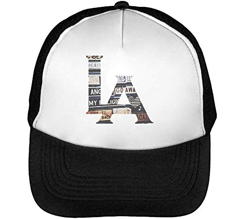 Los Angeles Signs Stylized Gorras Hombre Snapback Beisbol Negro Blanco