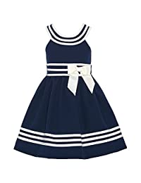 Bonnie Jean Big Girls Navy White Striped Bow Sailor Dress 7-16