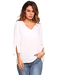 Meaneor Womens Casual Chiffon Sexy V-Neck 3/4 Sleeve Loose Blouse Tops