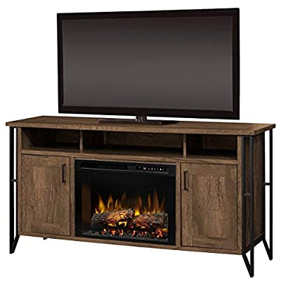 Dimplex Electric Fireplace, TV Stand, Media Console, Space Heater and Entertainment Center with Natural Log Set in Farmhouse Chestnut Finish - Tyson #GDS26L8-1873FM