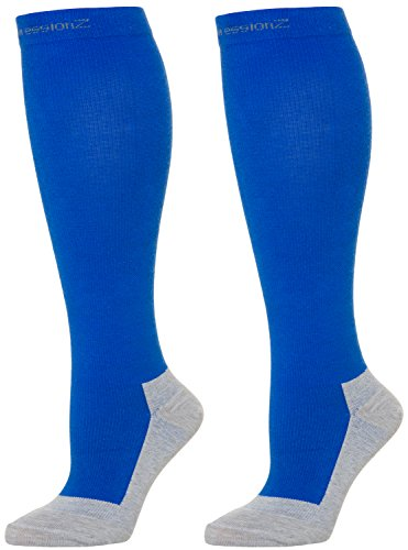 Compression Socks for Men & Women - 30-40 mmHg Graduated Compression - Medical Grade for Varicose Veins, Edema, Severe Swelling in Feet & Legs (Blue, Small)