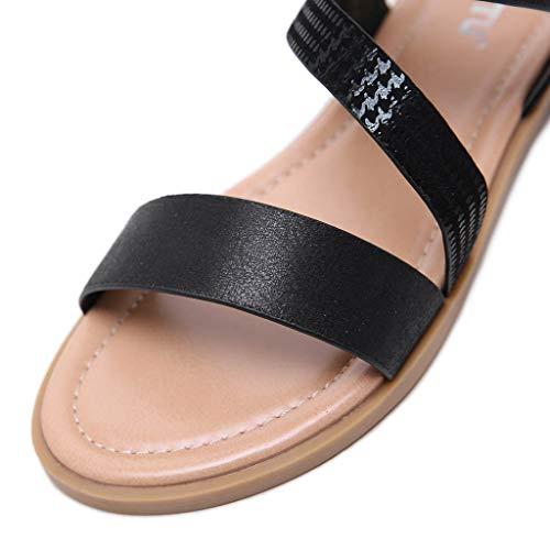 Sandalia Zapatos Roma Sandalias Redonda De Abierta Mujer Sólido Casual Playa Negro 2019 Verano Vestir Ashop Con Punta qt1Oxz1