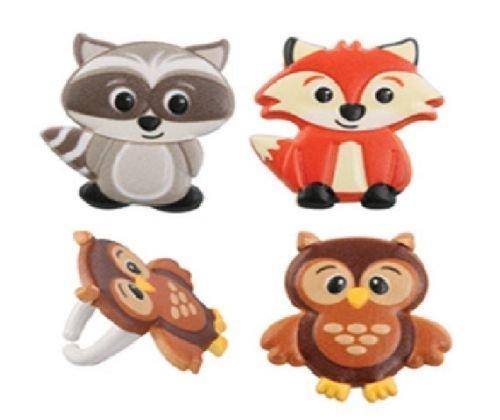 CakeDrake WOODLAND Animal FOX Raccoon OWL Baby Shower Birthday Party Cupcake Topper RINGS