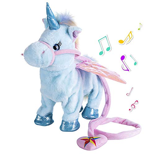 TACY Singing and Walking Electronic Pet Unicorn Plush Toys Pegasus Pink Robot Horses Musical Puppy Pet Soft Toys Gift Toy for Baby Toddlers Kids Pets (Blue)