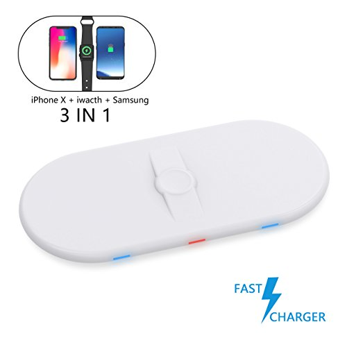 Wireless Fast Charging Pad with Watch for iPhone X CONMDEX Airpower Qi Fast Wireless Charging Docking Station with iWatch 3 in1 Charger Compatible iPhone 8Plus/Galaxy Note 8 All Qi Enabled Phone