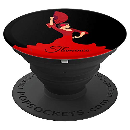 (Pretty Flamenco Dancer Dancing With Fan Red Dress On Black - PopSockets Grip and Stand for Phones and Tablets)