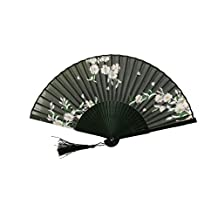 JAYYANG Chinese Style Butterfly Flowers Pattern Lace Bamboo Handheld Folding Fans for Girls Women Out Hand Folding Fans Outdoor Wedding Party Favor ZS-BLACK-1