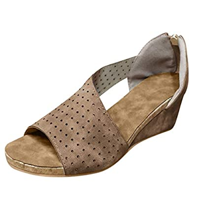 HIRIRI Retro Women Fish Mouth Sandals High Water Platform Flock Leather Cutout Booties Low Wedge Beach Shoes: Clothing