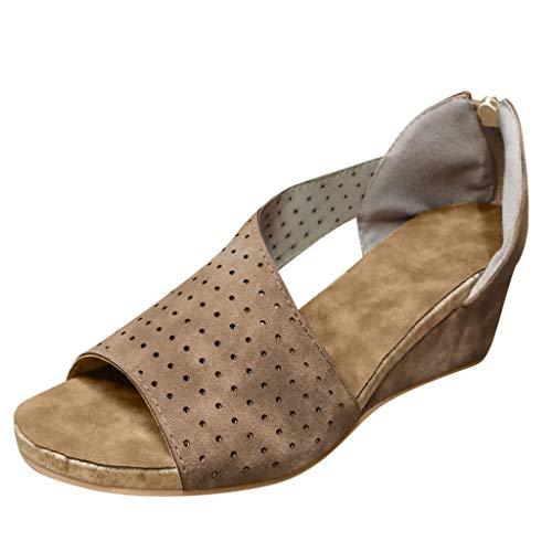 (Women's Wedge Sandal Open Toe Asymmetrical Hollow Out Summer D'Orsay Travel Casual Gladiator Shoes (Khaki, EU:35/US:5.0))
