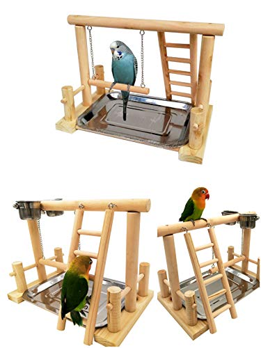 Borange Parrots Playstand Bird Playground Wood Perch Training Stand Cockatiel Playpen Ladders Birds Swing Wood Gym Tabletop with Feeder Cups Toys Exercise Play (Design A) (Tabletop Playstand)