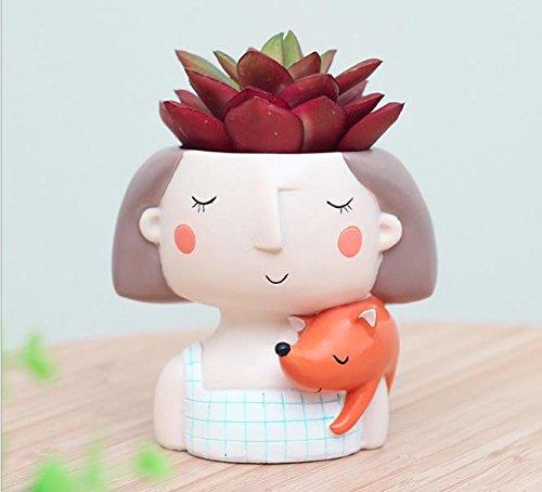 Youfui Cute Dog Flowerpot Animal Resin Succulent Planter Desk Mini Ornament (Dreaming Girl) (Little Girl Planter)