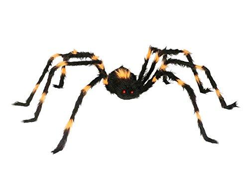 T. G. Fun World Halloween Big Black Orange Stripe Scary 50in Spider Spooky Haunted Home Yard Porch Decor