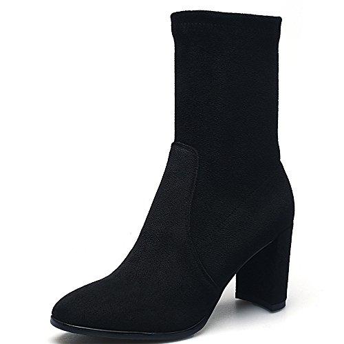 Leather Block Black Toe Suede Calf Heel Boots Mid Handmade Seven Comfort Women's Nine Sexy Round wqYA41E