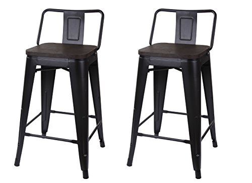 """GIA M01-24B_BK_Wood_2 2 24"""" Low Back Stool, 2-Pack, Black - Backless Industrial Stool Low Base"""