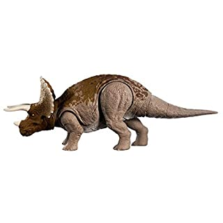 Jurassic World Sound Strike Triceratops Figure with Strike and Chomping Action, Realistic Sounds, Movable Joints, Authentic Color and Texture; Ages 4 and Up