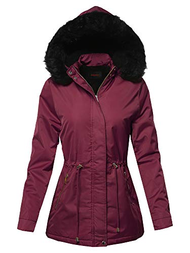 Awesome21 Solid Hooded Warm Winter Thicken Fleece Lined Parkas Long Jacket Burgundy S
