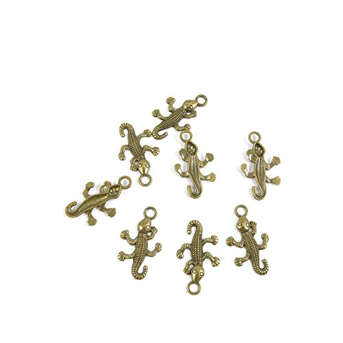 - 20 PCS Jewelry Making Charms Findings Supply Supplies Crafting Lots Bulk Wholesale Antique Bronze Tone Plated Z7ES8 Lizard Gecko