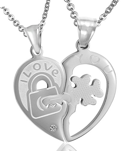 Daesar His & Hers Necklace Set Couples Stainless Steel