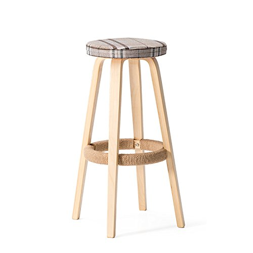 Solid wood bar chair / round high stool / bar stool / home bar chair / bar chairs ( Color : Wood Color , Style : E ) by Xin-stool